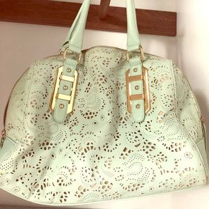 Mint green leather purse